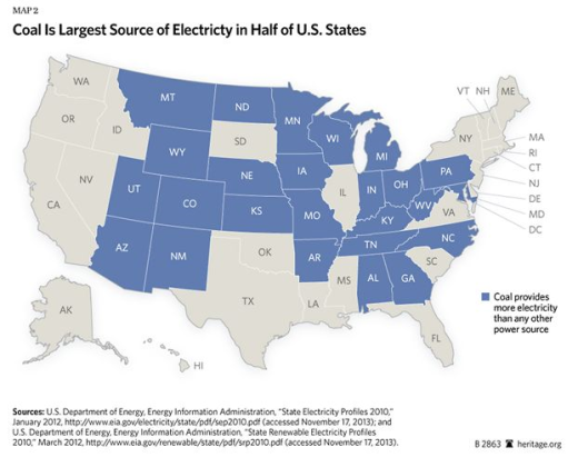 electricity from coal by state