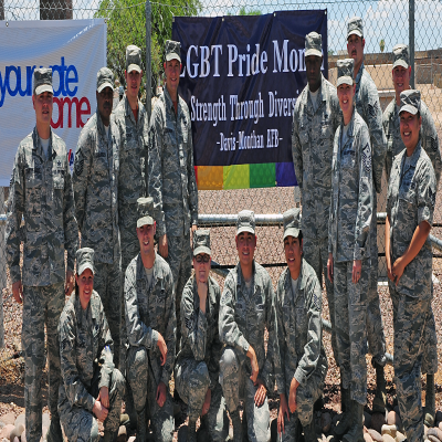 Members of the LGBT Pride Observance Month Committee  (U.S. Air Force photo by Senior Airman Camilla Elizeu)