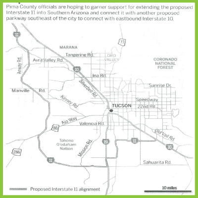 Pima County supervisors to consider possible I-11 connection ... on map of all counties in northern california, apache county arizona, downtown chandler arizona, map of city limits tucson az,
