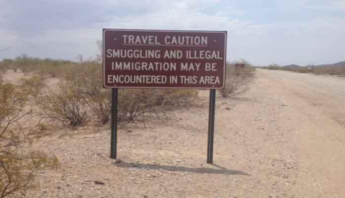 border warning sign