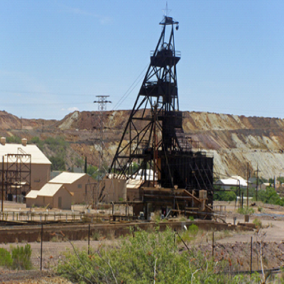 The Campbell Shaft is located about 0.5 miles southeast of Lavender Pit.