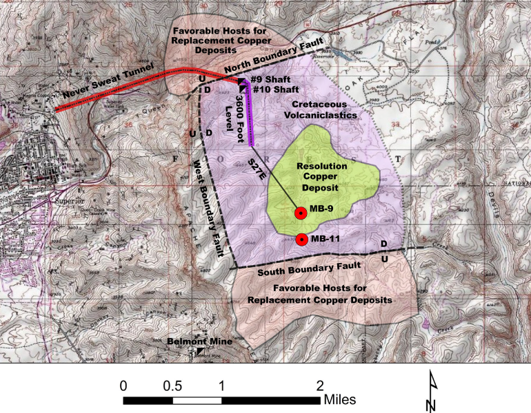 Schematic Exploration Activities Map - Shows Surface Projections of Geological Units, Important Faults, Resolution Copper Deposit, Never Sweat Tunnel, 3600-Foot Level of Underground Mine and Underground Drill Hole S27E that are concealed beneath Post-Mineral Tertiary Volcanics. U = Up Thrown, D = Down Thrown.