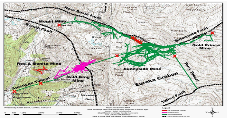 Figure 3: Map Showing the Surface Projection of Underground Mine Workings, Major Fault Zones and the Locations of Bulkheads (Red Xs) (modified from EPA, 2015a)