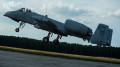A 354th Expeditionary Fighter Squadron A-10C Thunderbolt II aircraft takes off during an austere landing training exercise at Nowe Miasto, Poland, July 20, 2015. The deployed A-10s are part of the first European Theater Security Package. (U.S. Air Force photo by Airman 1st Class Luke Kitterman/Released)