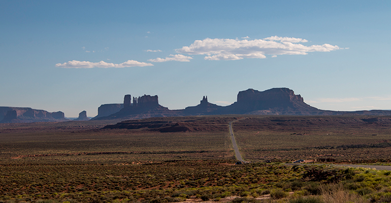 Nearly 200 miles separate Navajo Mountain from Monticello in San Juan County, Utah. The trip requires drivers to first travel south into Arizona before traveling north to the county seat. In between the two destinations rests Monument Valley Navajo Tribal Park. (Photo by Erin Vogel-Fox/News21)