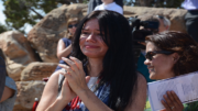Liliana Spurlock, formerly from Colombia, reacts with emotion after taking her oath of U.S. citizenship. (Photo by Bri Cossavella/Cronkite News)