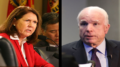 Left: Rep. Ann Kirkpatrick, D-Flagstaff, photographed in 2014. (Photo by Camaron Stevenson/Cronkite News) Right: Sen. John McCain speaks at the Cronkite School. (Photo by Alejandra Armstrong/Cronkite News)