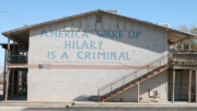 An apartment building in Miami, Arizona has an anti-Hillary Clinton message scrawled on it on Thursday, Nov. 17, 2016. Although Globe-Miami residents said the area has traditionally been liberal, some are hoping to see an increase in bipartisan politics under a Donald Trump presidency. (Photo by Joshua Bowling/Cronkite News)