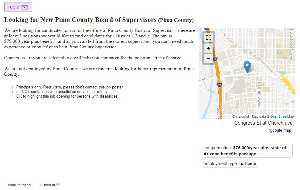 Disgust Leads To Help Wanted Ad For Pima County Supervisors