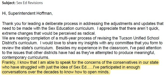 Cindy Coleman email to Hoffman